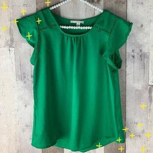 Haute Monde green Flutter Sleeve Slit Back Blouse